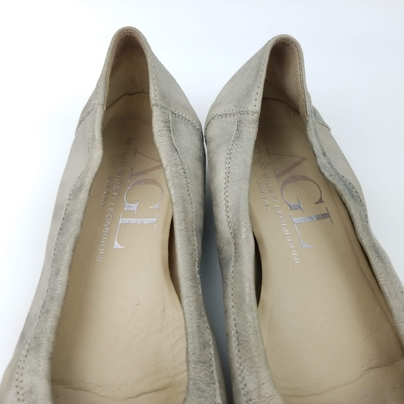 AGL Leather and Patent Cap Toe Ballet Flats 39 Orange